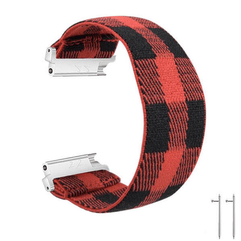 Fitbit Versa 2 bandje elastisch canvas rood zwart - Onlinebandjes.nl