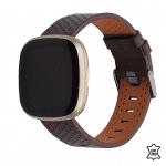 Fitbit Versa 3 bandje leer – bruin – Onlinebandjes.nl