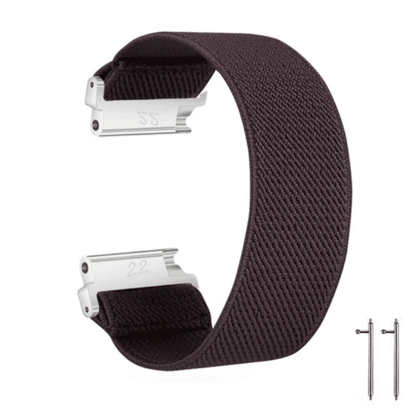 Fitbit Versa bandje Elastisch Canvas bruin - Onlinebandjes.nl
