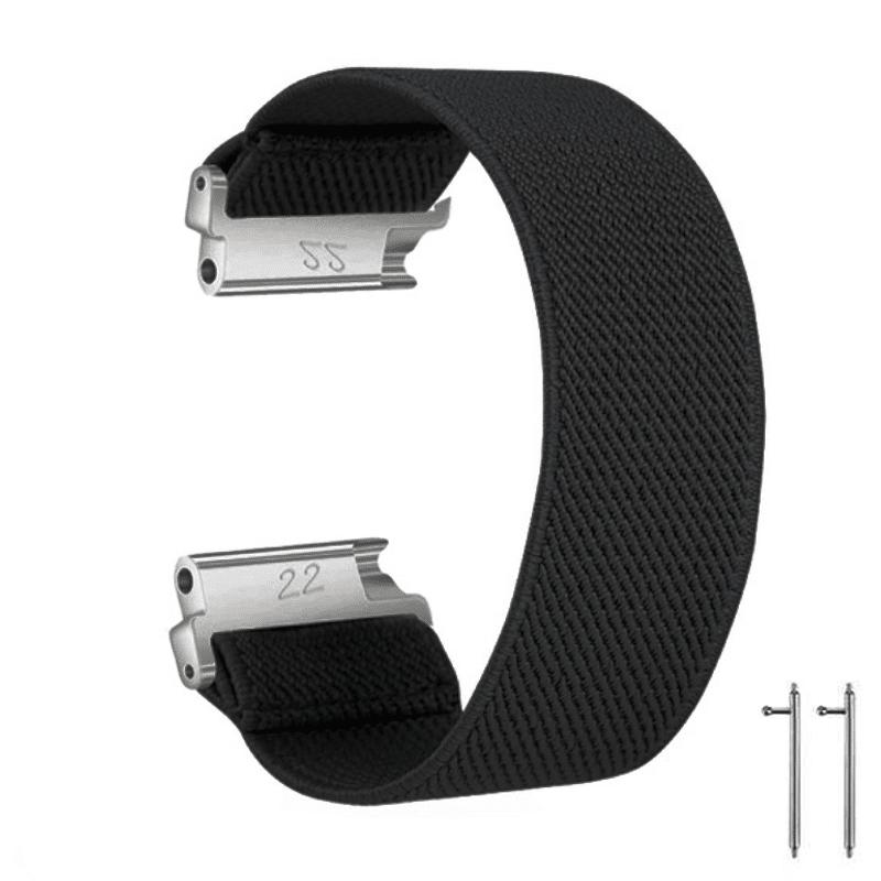 Fitbit Versa bandje Elastisch Canvas zwart - Onlinebandjes.nl