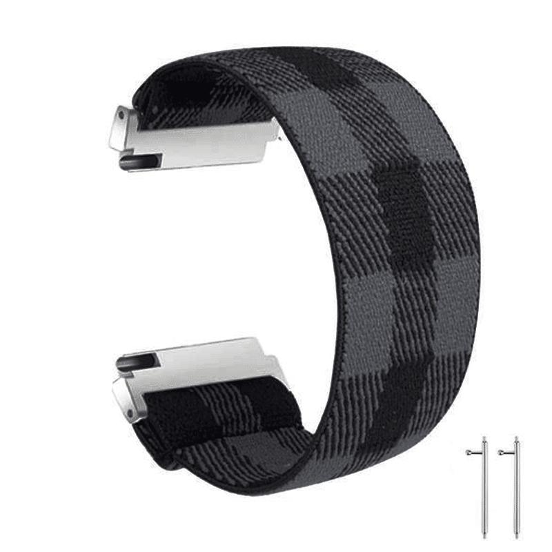 Fitbit versa 2 bandje elastisch canvas zwart grijs - Onlinebandjes.nl