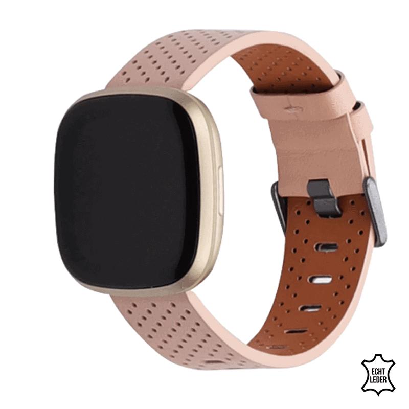 Fitbit versa 3 bandje roze leer - Onlinebandjes.nl