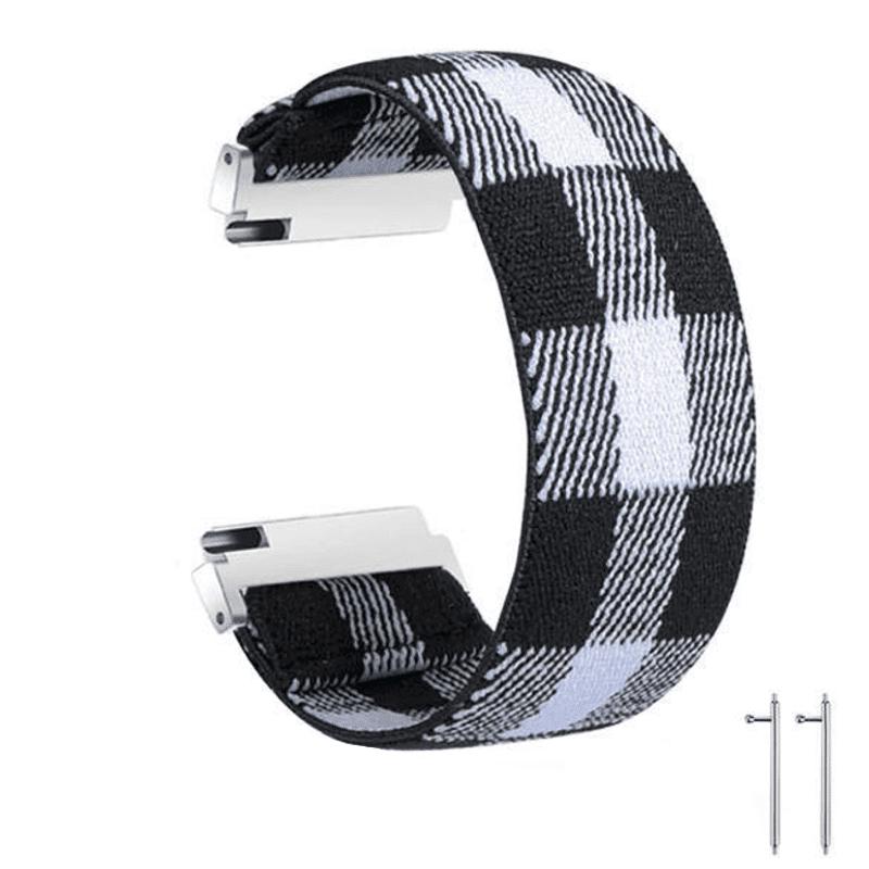 fitbit versa bandje elastisch canvas zwart wit - Onlinebandjes.nl