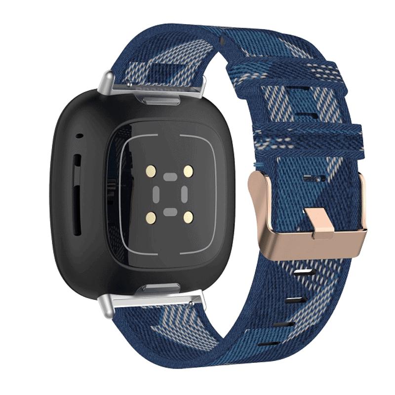 Fitbit Sense bandje canvas blauw - Onlinebandjes.nl