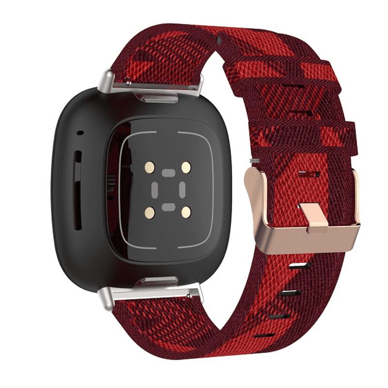 Fitbit Sense bandje canvas rood - Onlinebandjes.nl