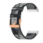 Fitbit Sense bandje canvas zwart:grijs – Onlinebandjes.nl
