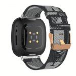 Fitbit Versa 3 bandjes zwart:grijs canvas – Onlinebandjes.nl
