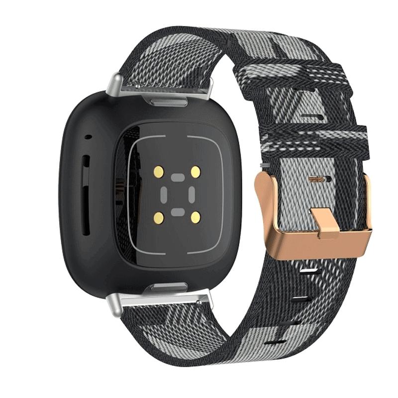 Fitbit Versa 3 bandjes zwart:grijs canvas - Onlinebandjes.nl