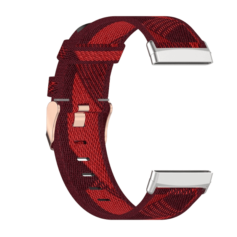 Fitbit Versa 3 canvas bandje rood - Onlinebandjes.nl