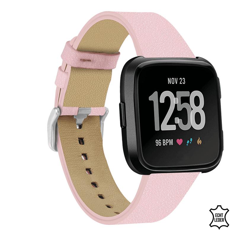 Fitbit versa bandje leer roze - Onlinebandjes.nl
