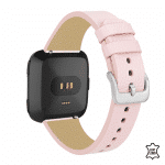 Fitbit versa lite bandje leer roze – Onlinebandjes.nl