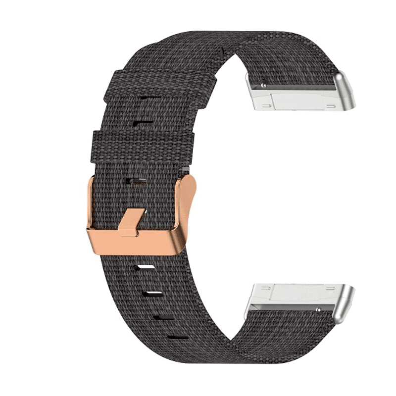 Fitbit versa3 canvas bandje donkergrijs - Onlinebandjes.nl