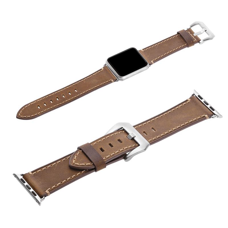 Apple Iwatch bandje leer bruin - Onlinebandjes.nl