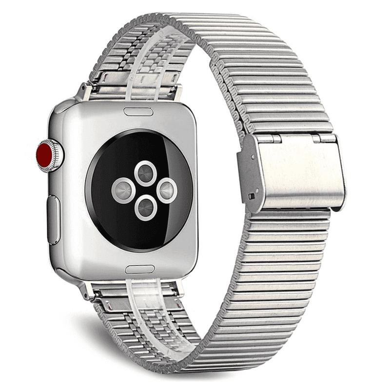 Apple Watch RVS bandje zilver druksluiting - Onlinebandjes.nl