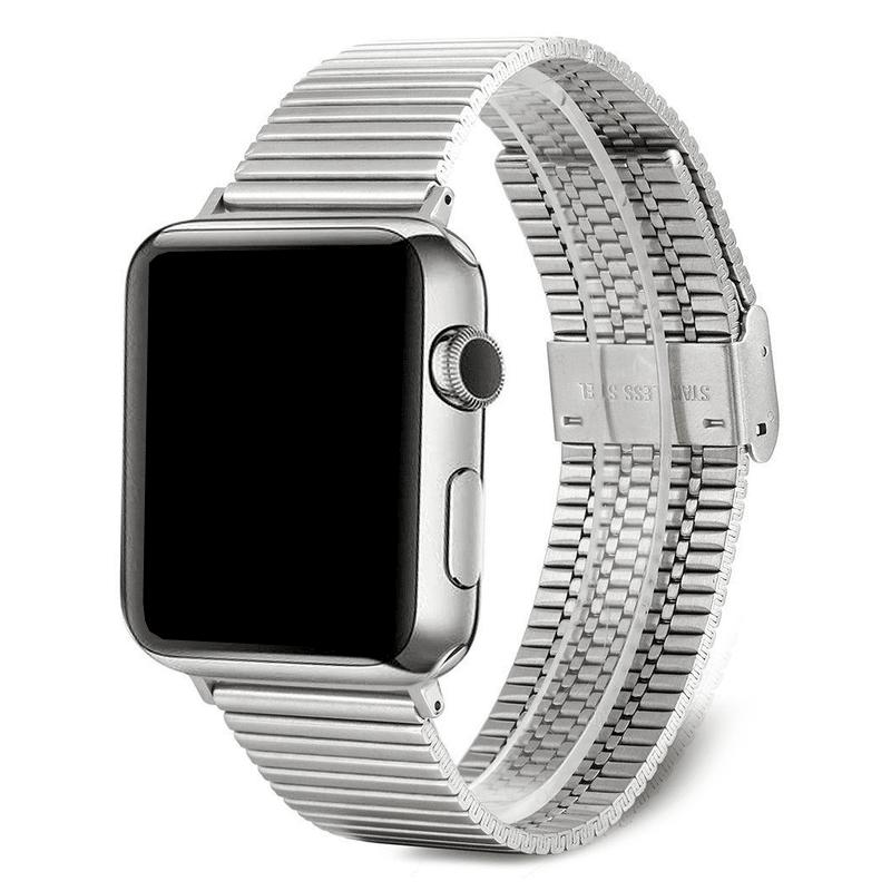 Apple Watch bandje RVS zilver druksluiting