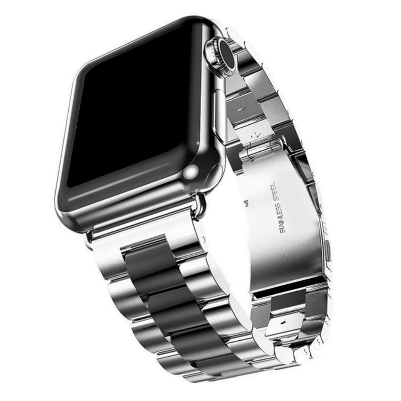 Apple Watch bandje RVS zilver zwart vouwsluiting - Onlinebandjes.nl