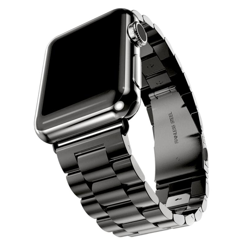 Apple Watch bandje RVS zwart vouwsluiting - Onlinebandjes.nl