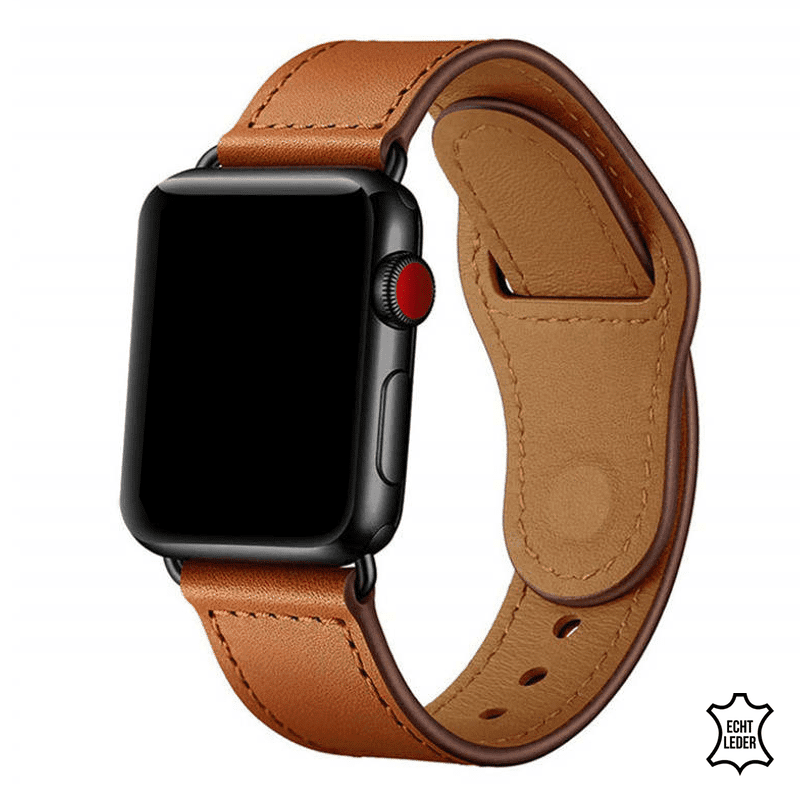 Apple Watch bandje leer bruin druksluiting - Onlinebandjes.nl