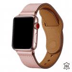Apple Watch bandje leer roze druksluiting – Onlinebandjes.nl