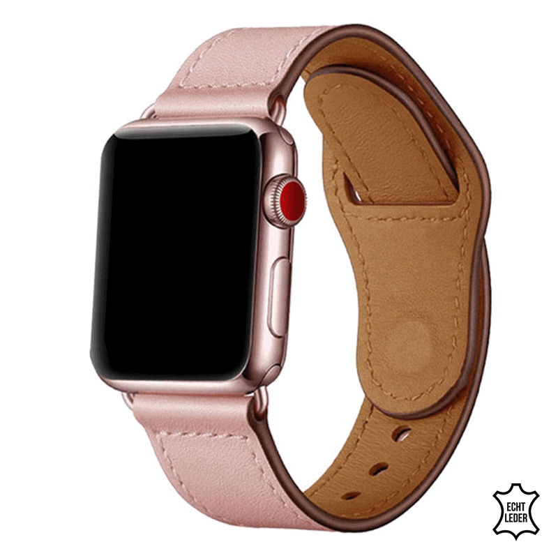 Apple Watch bandje leer roze druksluiting - Onlinebandjes.nl