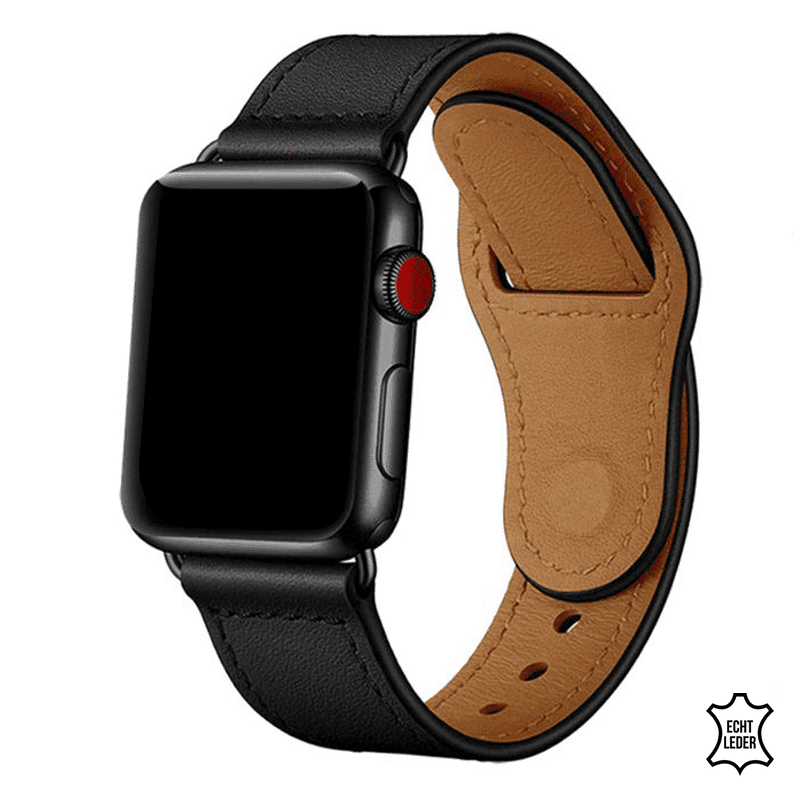 Apple Watch bandje leer zwart druksluiting - Onlinebandjes.nl