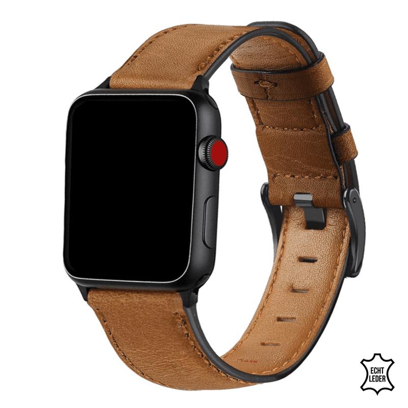 Apple Watch bandjes leer geel:bruin - Onlinebandjes.nl