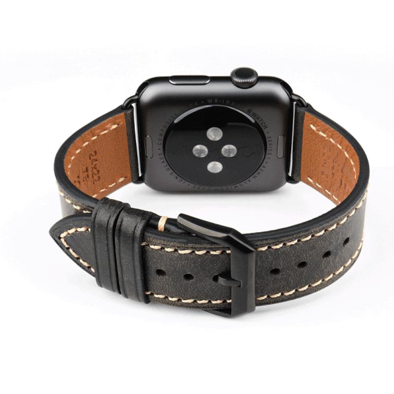 Apple Watch leer bandje zwart - Onlinebandjes.nl