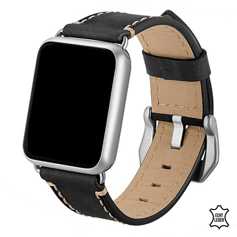Apple watch 5 bandje leer zwart - Onlinebandjes.nl