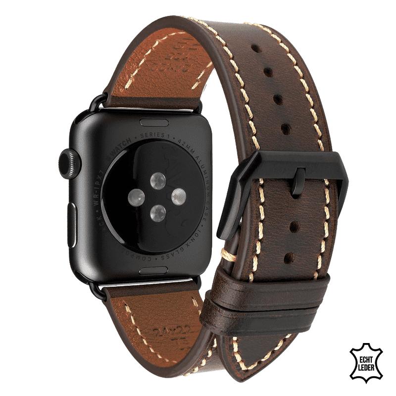 Apple watch bandje 38 mm leer donkerbruin - Onlinebandjes.nl