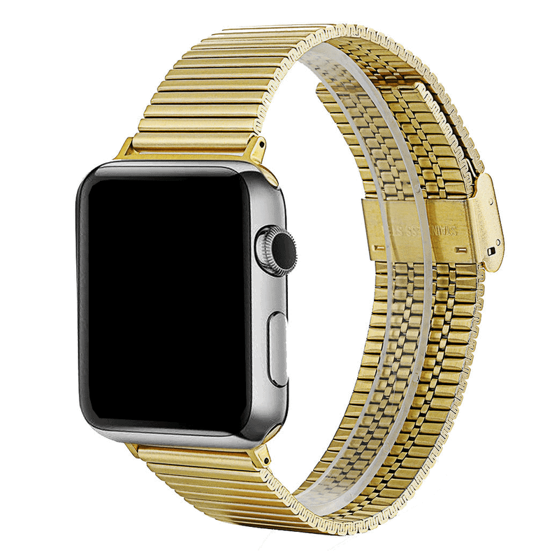 Apple watch bandje RVS goud druksluiting