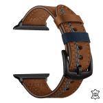 Apple watch bandje leer bruin blauwe naad – Onlinebandjes.nl