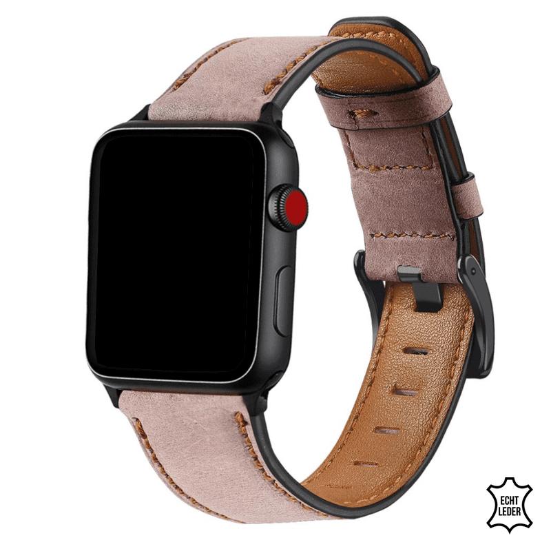 Apple watch bandje leer roze - Onlinebandjes.nl