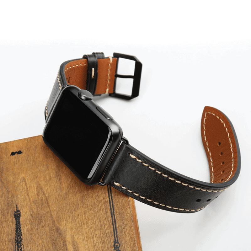 Apple watch bandje leer zwart : zwarte gesp - Onlinebandjes.nl
