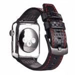 Apple watch bandje leer:carbon zwart – Onlinebandjes.nl
