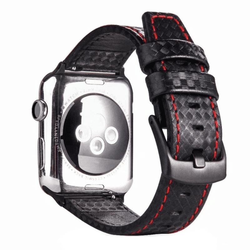 Apple watch bandje leer:carbon zwart - Onlinebandjes.nl