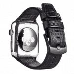 Apple watch bandje leer:carbon zwart-zwart – Onlinebandjes.nl