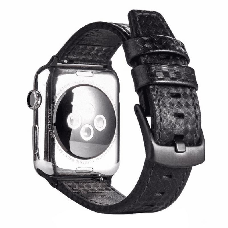Apple watch bandje leer:carbon zwart-zwart - Onlinebandjes.nl
