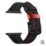 Apple watch bandje zwart leer rode naad – Onlinebandjes.nl