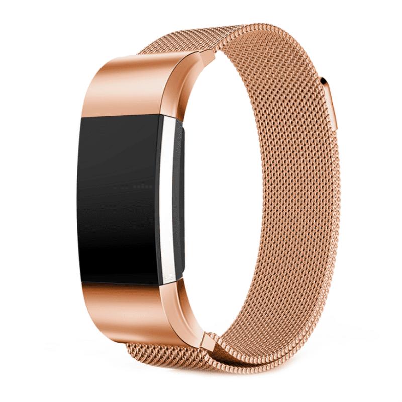 Fitbit Charge 2 bandje milanees roze-goud - Onlinebandjes.nl