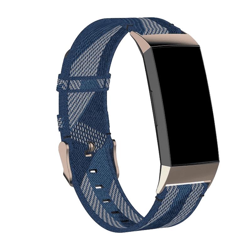 Fitbit Charge 3 bandje canvas blauw - Onlinebandjes.nl