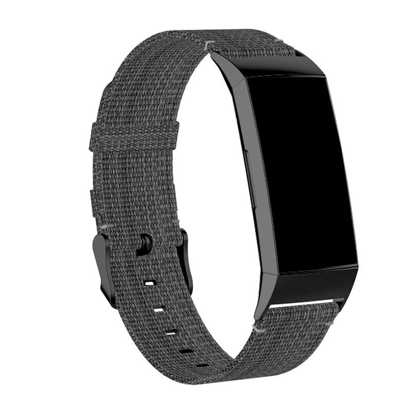 Fitbit Charge 4 bandje Canvas donkergrijs - Onlinebandjes.nl