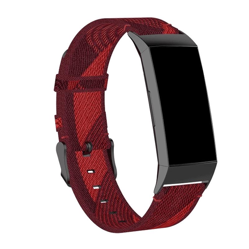 Fitbit Charge 4 bandje rood streep - Onlinebandjes.nl