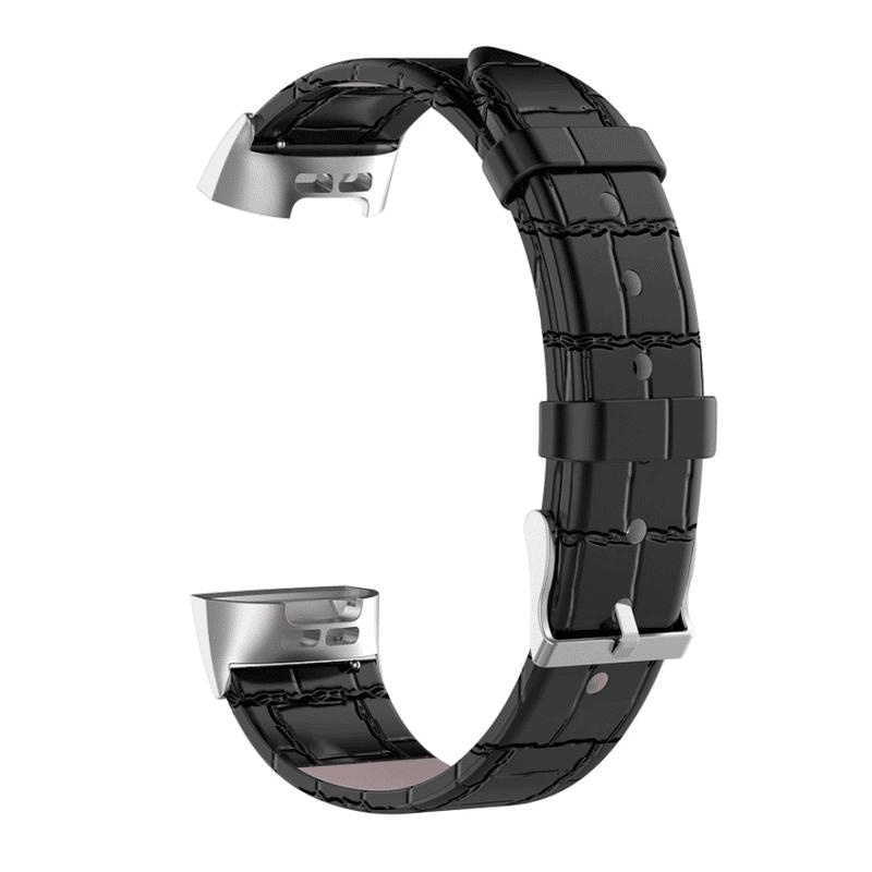Fitbit Charge3 bandje leer zwart krokodillen patroon - Onlinebandjes.nl