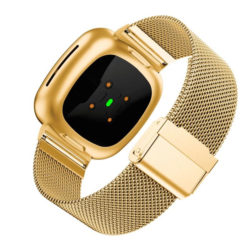 Fitbit Sense bandje rvs goud druksluiting - Onlinebandjes.nl