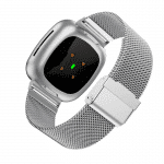Fitbit Sense bandje rvs zilver druksluiting – Onlinebandjes.nl