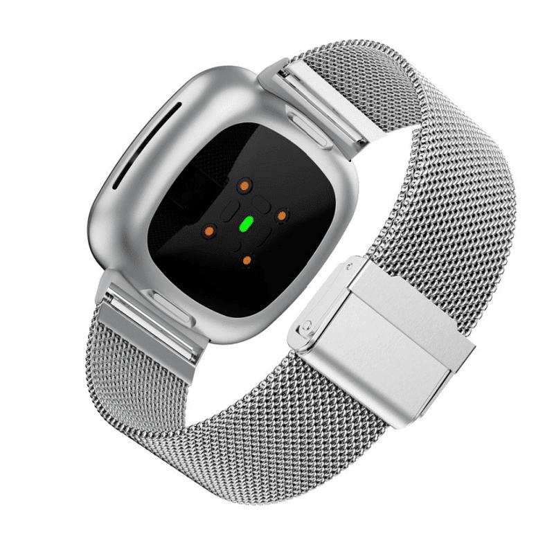 Fitbit Sense bandje rvs zilver druksluiting - Onlinebandjes.nl