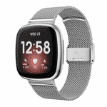 Fitbit Versa 3 bandje rvv zilver druksluiting – Onlinebandjes.nl