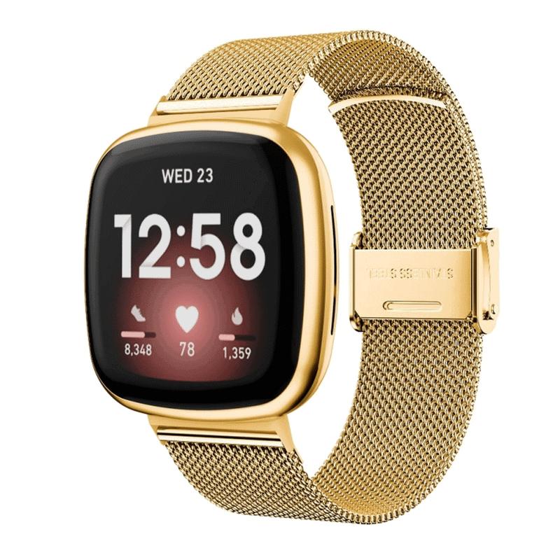 Fitbit Versa 3 rvs goud druksluiting - Onlinebandjes.nl