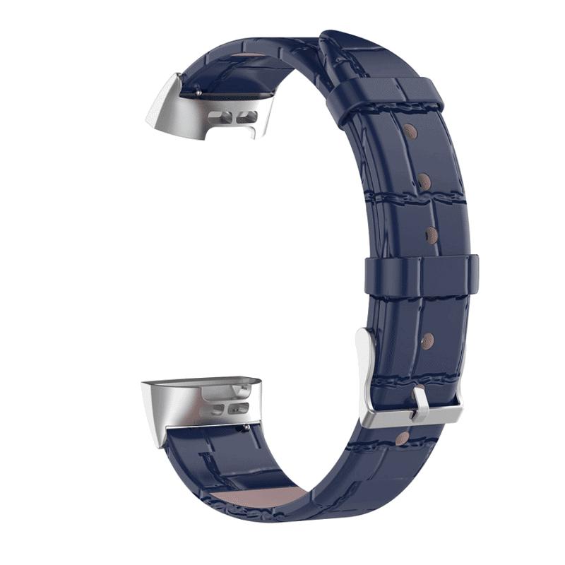 Fitbit charge 3 bandje leer blauw krokodillen patroon - Onlinebandjes.nl