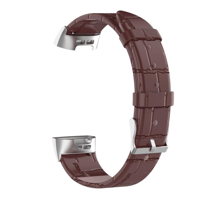 Fitbit charge 3 bandje leer bruin krokodillen patroon - Onlinebandjes.nl